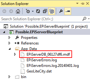 EPiServer default database file